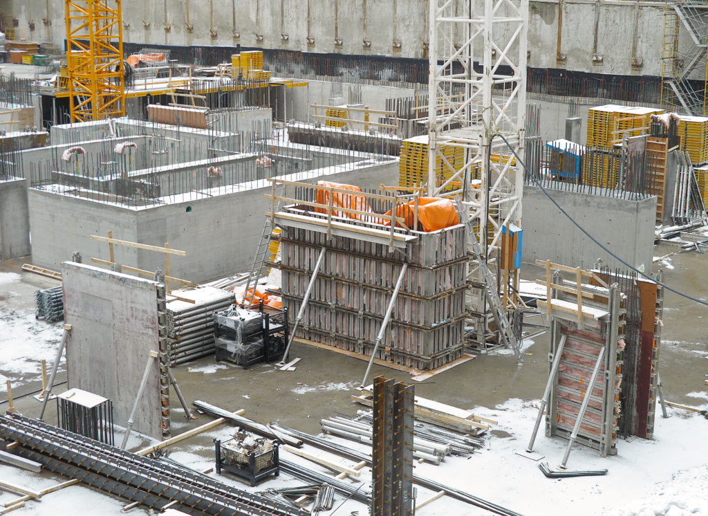Formwork on construction site after pouring concrete in cold weather